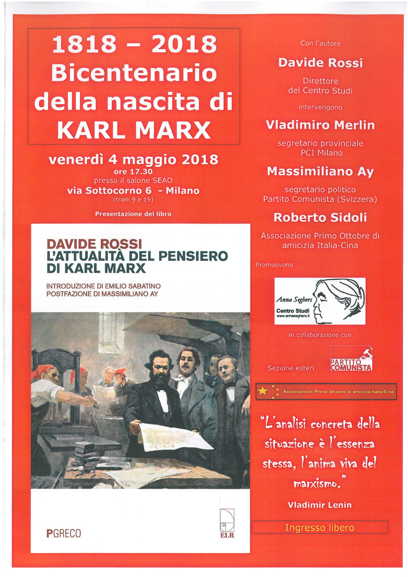 Bicentenario di Karl Marx @ Sala SEAO