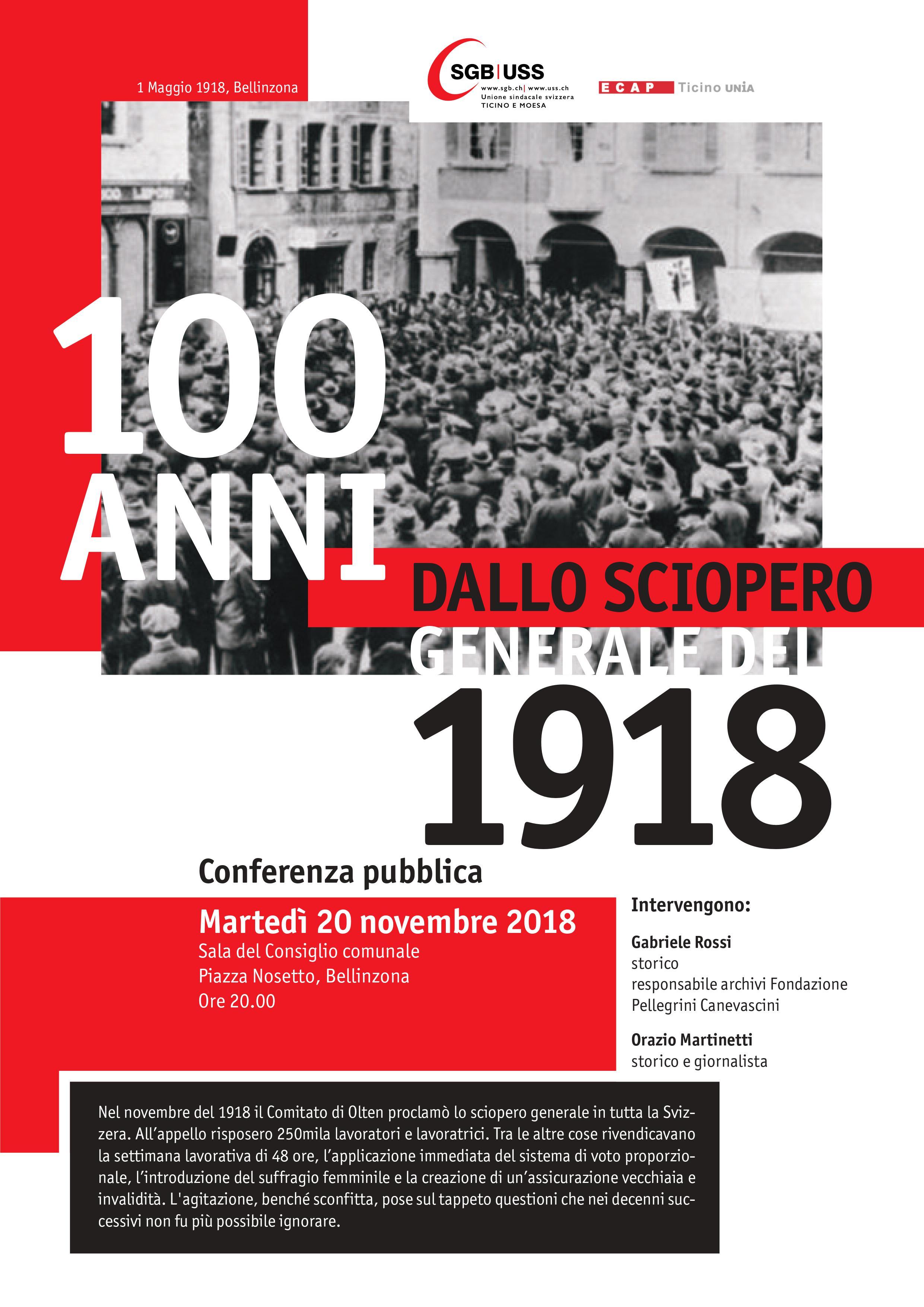 100 anni dallo sciopero generale del 1918 @ Sala del Consiglio Comunale