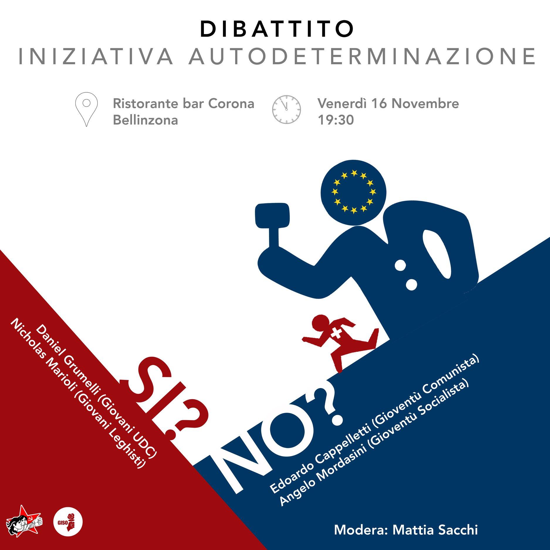 Dibattito giovanile sull'iniziativa per l'autodeterminazione @ Ristorante Corona