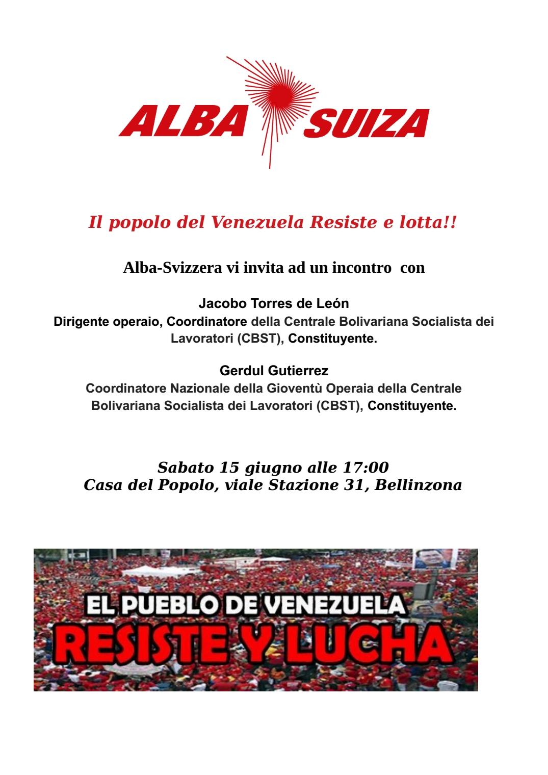 Incontro con sindacalisti venezuelani @ Casa del Popolo