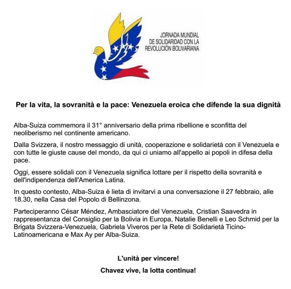 Il Venezuela per la sovranità e la pace @ Casa del Popolo
