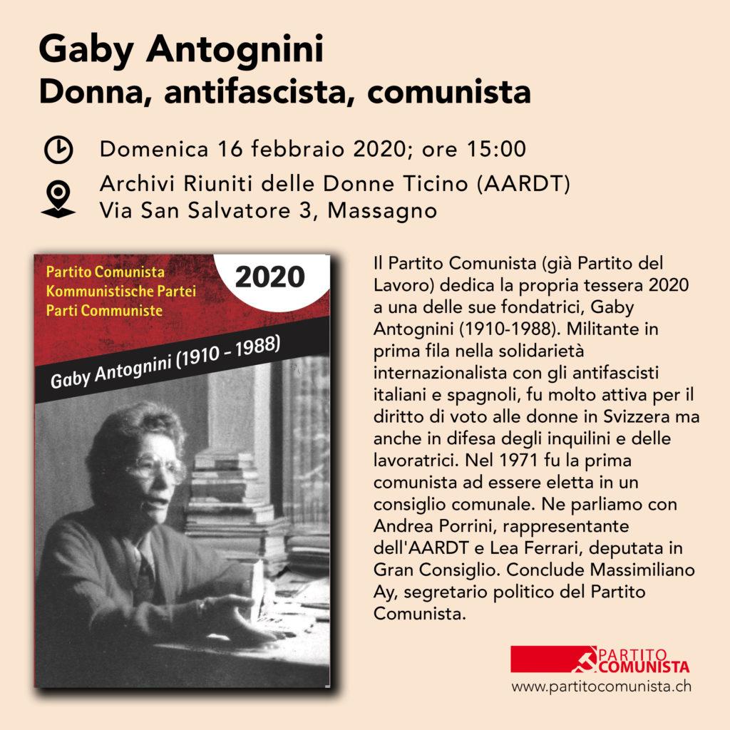 Gaby Antognini: donna, antifascista, comunista @ AARDT