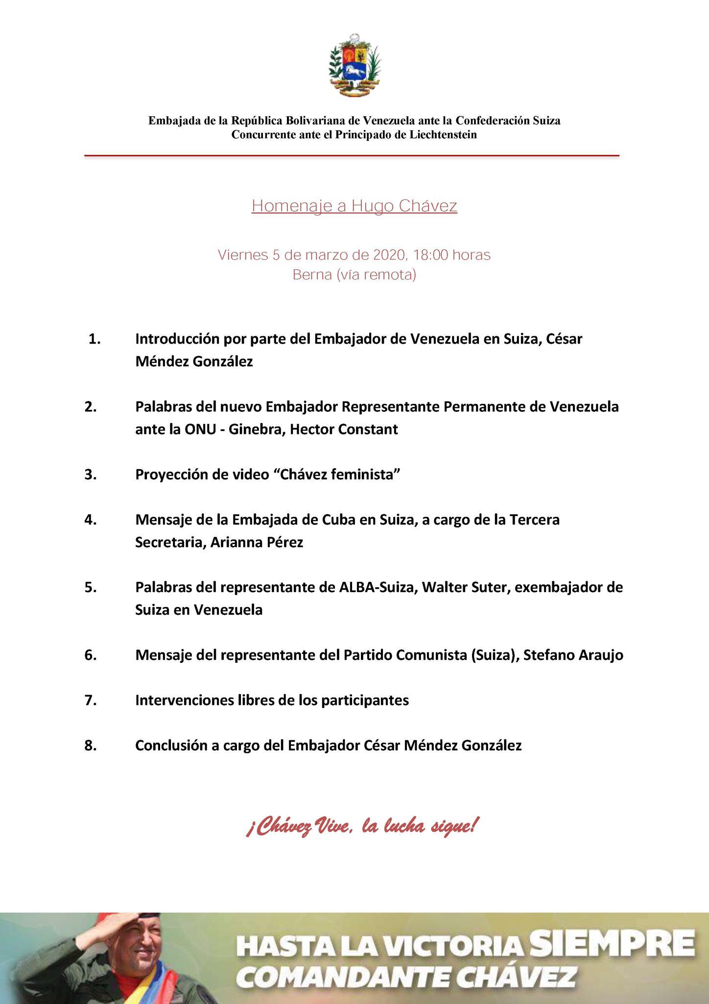 Commemorazione di Hugo Chavez